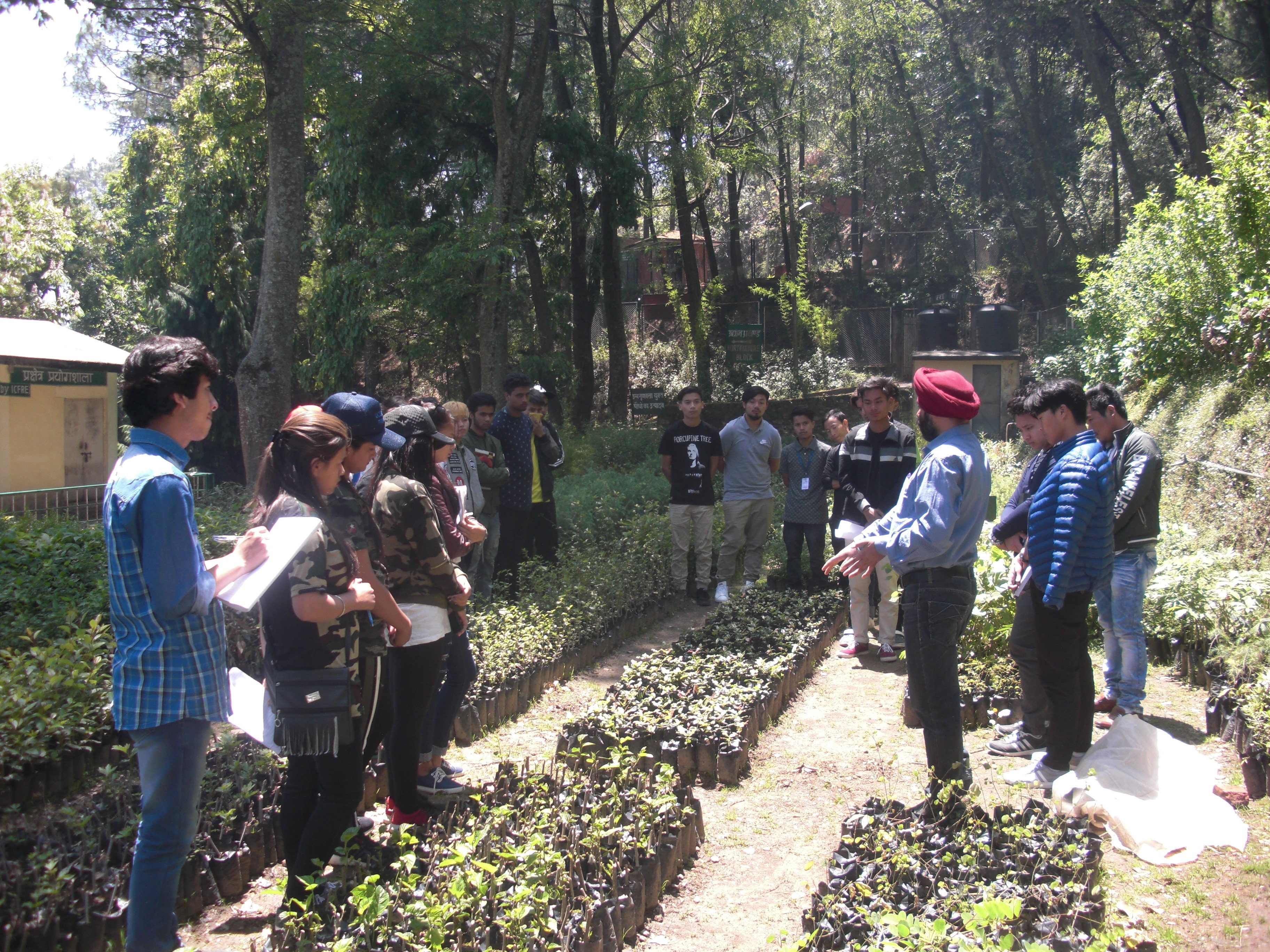 A Professor, Department of Forestry is delivering a lecture on nurseries, forest management, silvicultue and agroforestry, ethanobotany, extension education, medicinal and aromatic plants